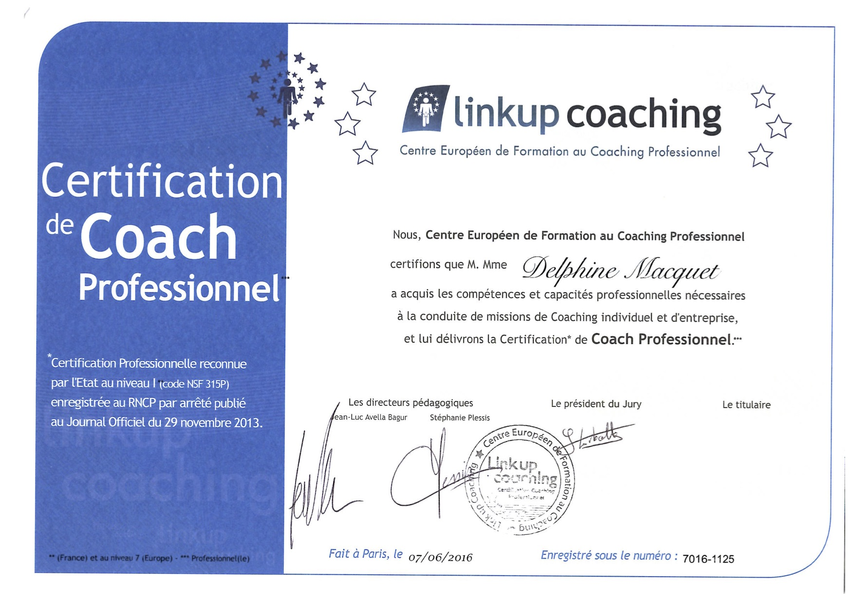 Delphine Macquet, certificated coach for CrossRoads Intelligence